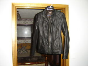 "Like New ""Danier""-Brand Black Leather Woman's Jacket"