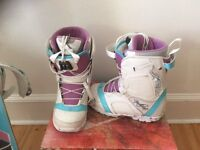 Ladies 149 Snowboard, boots (size 5) and bindings