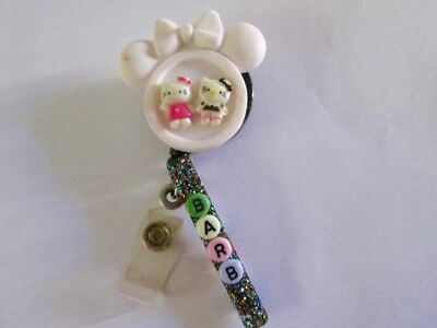 Id Badge Retractable Reel Magnet Or Cliphello Kitty Nursemedicalpediatric