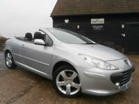 08 PEUGEOT 307 CC 2.016v AUTOMATIC CONVERTIBLE SPORT 59KFSH SILVER/BLACK LEATHER