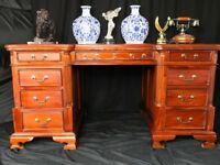 Double Sided Pedestal Georgian Style Mahogany Partners Desk