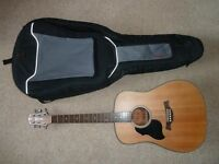 Left Handed Acoustic Guitar and padded bag