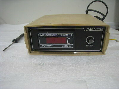 Omega Model 650 J Type Thermocouple Thermometer With Probe