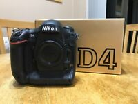 Nikon D4 Digital SLR Camera Body, immaculate condition, very low shutter actuations of 4,274, boxed