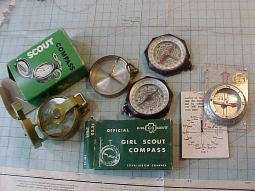 ORIGINAL VINTAGE COMPASS LOT - BOY SCOUT / GIRL SCOUT / ANTIQUE