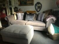 FABB NEXT GOSFORD GRAND SOFA WITH LARGE FOOTSTOOL, ADDED M&S ARMCHAIR