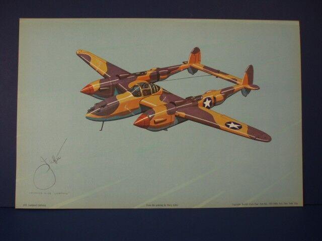 Lockheed P-38 Lightning WWII Airplane Print by Harry Jaffee, Rudolf Lesch N.Y.