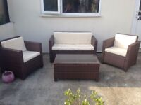 Brown Rattan garden furniture set, hardly used, brilliant condition