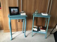 Vintage, shabby chic, reclaimed wooden green/turquoise bedside tables/ side tables (two available)