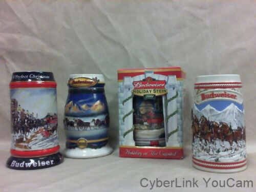4 - BUDWEISER BEER STEINS