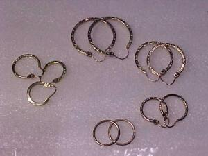 3417-4 pair of graduated size GOLD earrings PLUS 3 different singles-All in good working order 10k yellow gold