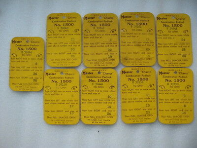 9 ORIGINAL MASTER CHAMP COMBINATION PADLOCK LOCK CARD USA NO 1500 MILWAUKEE WIS