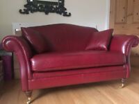 Marks and spencer red leather two seat sofa