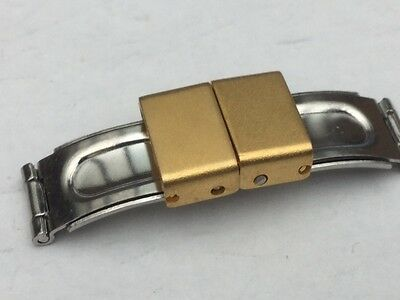 Watch Bracelet  Clasp Stainless Steel 14MM PLAQUE GOLD