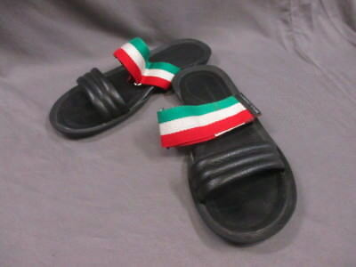 Auth DOLCE&GABBANA Black Red White Green Leather Chemical Fiber Sandals #7