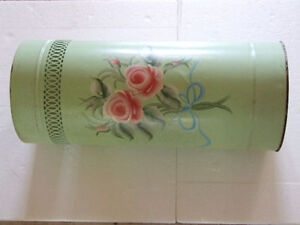 METAL MINT GREEN HANDPAINTED FLORALS PLANTER UMBRELLA HOLDER London Ontario image 2