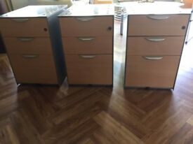 1 X 3 drawer metal office set of drawers with beech front