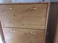 Wooden Shoe cabinet. Two drawers. 75cm W x 24cm D x 87cm H. £10 B15.