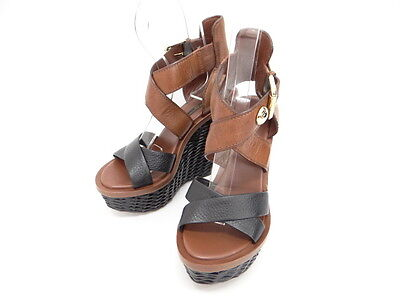Auth LOUIS VUITTON Sandals Shoes Heels Wedge Sole Size 37 Italy 32130793000 L4G