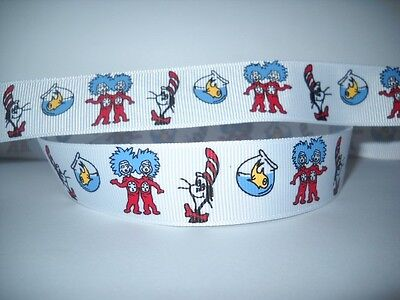 GROSGRAIN DR. SEUSS THING 1 THING 2 7/8 INCH RIBBON FOR HAIR BOWS DIY CRAFTS - Dr Seuss Crafts