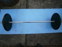 Barbell, dumbells 70KG plates.