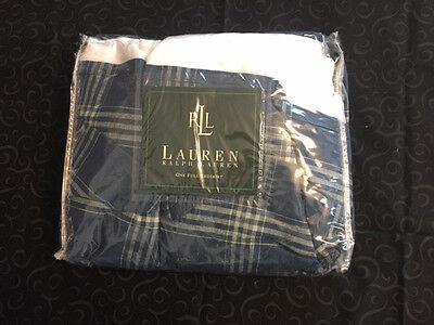 """NIP-NEW-Ralph-Lauren """"Americana Plaid""""-FULL-Bedskirt-Blue-Linen/Cotton"""