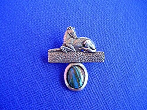 Stylized Greyhound Whippet Rainbow calsilica Pin 13G  jewelry b Cindy A. Conter