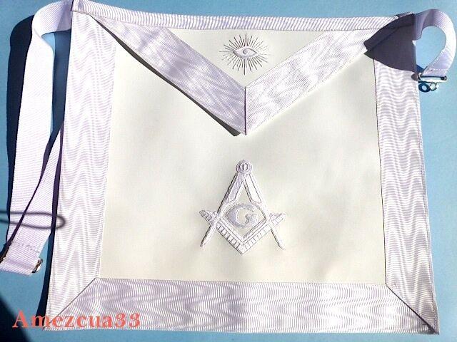 Elegant White Master Mason  Apron White Threads