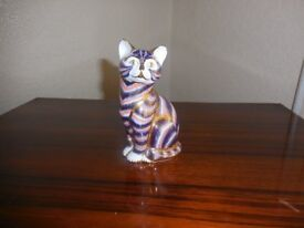 ROYAL CROWN DERBY PAPERWEIGHT BLUE CAT
