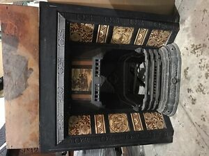 Victorian tiled fire place incert