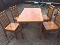 Wooden Dining Table and 4 Chairs (Table 118cm x 74 cm)