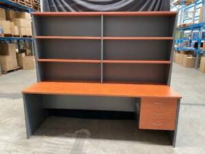 Large straight desk with hutch storage unit office furniture