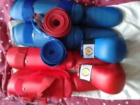 kids karate kick & shin pads ,mitts, red& blue belts