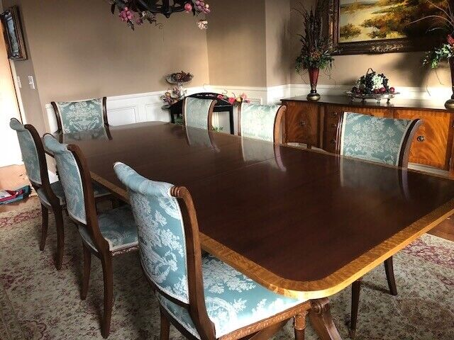 antique dining table , dining chairs and sideboard