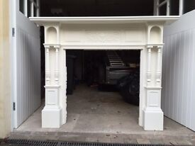 Antique Edwardian painted fire surround with pillars