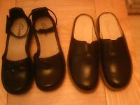 LADIES CLARKS BLACK LEATHER SHOES BOXED AND UNWORN SIZES 4.AND A HALF