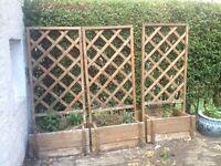 3 x wooden plant bozes with trellis FREE