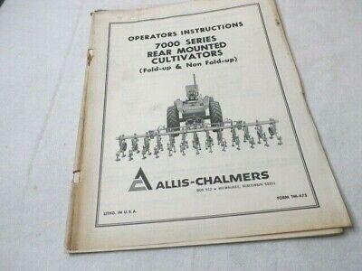 Allis Chalmers 7000 Series Rear Mounted Cultivators Operators Manual