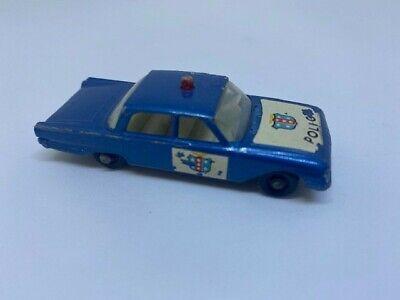Vintage Lesney England Matchbox No 55 Ford Fairlane Police Car Black Wheels