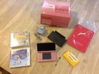 Nintendo 3DS Coral Pink - boxed in original packaging with 2 games