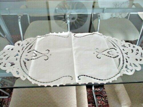 Vintage linen cut work table runner centerpiece scarf