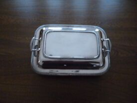 Silver plated vegetable dish with silver plated lid