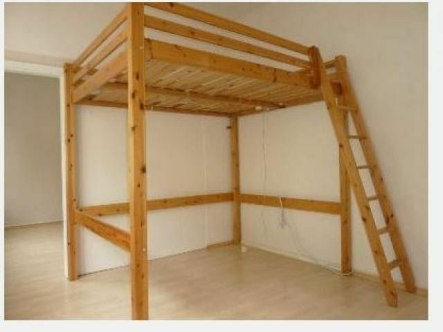 Real wood ikea stora double loft bed high sleeper cabin for Space saver beds ikea