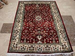 FLOWER VAAS LOVE RED EXCLUSIVE HAND KNOTTED RUG WOOL SILK CARPET