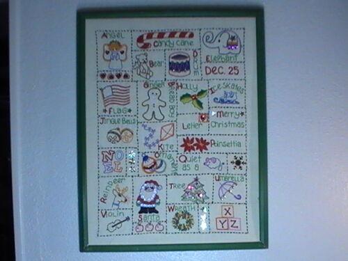 Alphabet Holiday Sampler Needlepoint Embroidery Cross Stitch 1970s 19.5 x 15.5