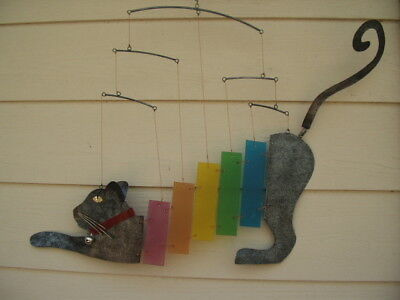 Large Rainbow Multi Color Kitty Kittie Cat Glass and Metal Mobile FREE - Rainbow Kitty
