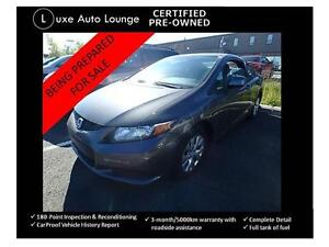 2012 Honda Civic Cpe LX - BLUETOOTH, A/C, 5-SPEED, CERTIFIED!!