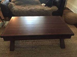 Unique expanding hardwood coffee table