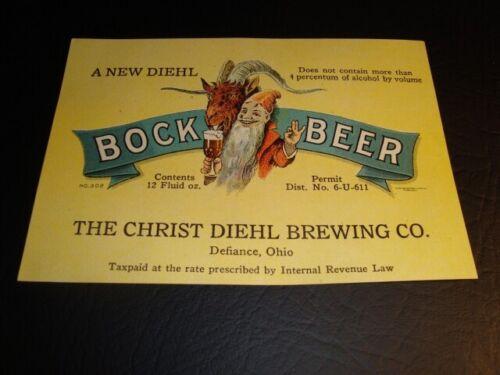 Circa 1930s Diehl Bock U-Permit Label, Defiance, Ohio