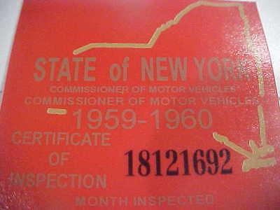 new york 1959-60 inspection sticker windshild